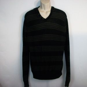 Guess Mens Size XL V-neck Stripped Lt Weight Hoody